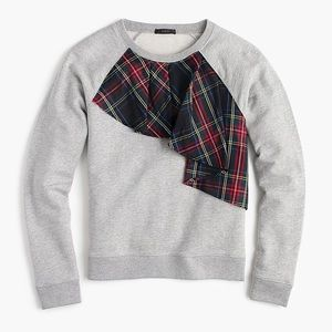 J.Crew Tartan Plaid Ruffle Sweatshirt